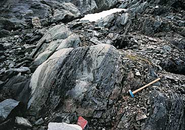 Isua rocks, Greenland. Oldest rocks discovered, showing plausible traces of 3.8 billion-year-old life