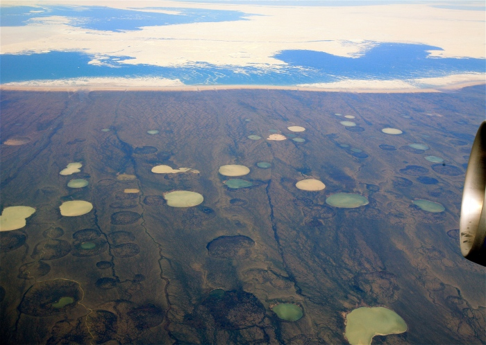 permafrost thaw ponds around Hudson Bay, Canada