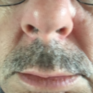 my officially incipient tache - a supposedly fun thing I'll never grow again