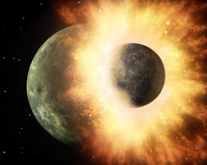 the hypothesised Thea impact, which enlarged the Earth and created the Moon