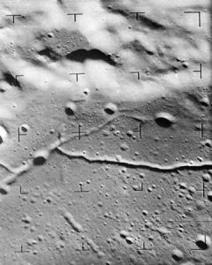 A Ranger 9 image showing rilles - long narrow depressions - on the Moon's surface
